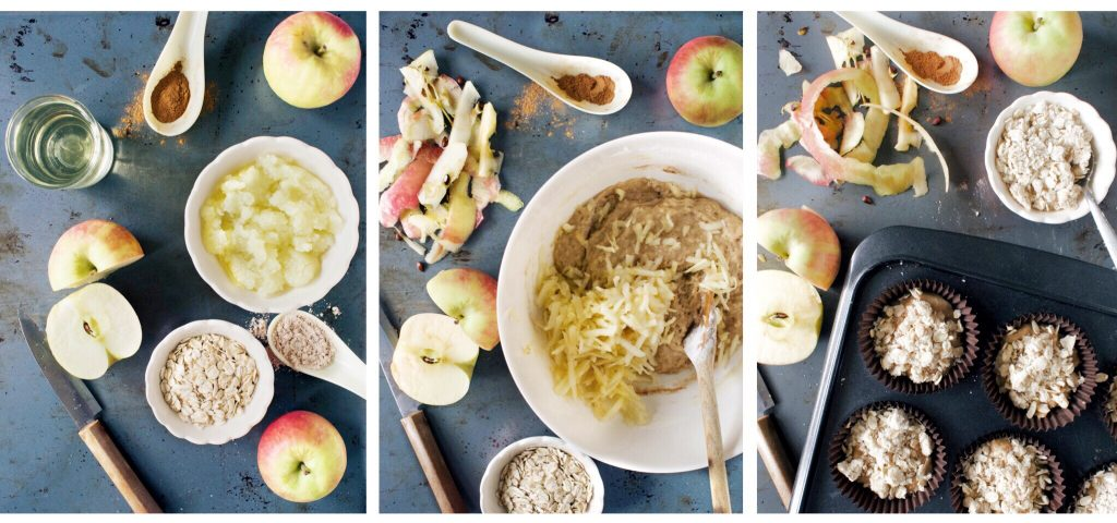 process shots showing step by step how to make apple crumble muffins