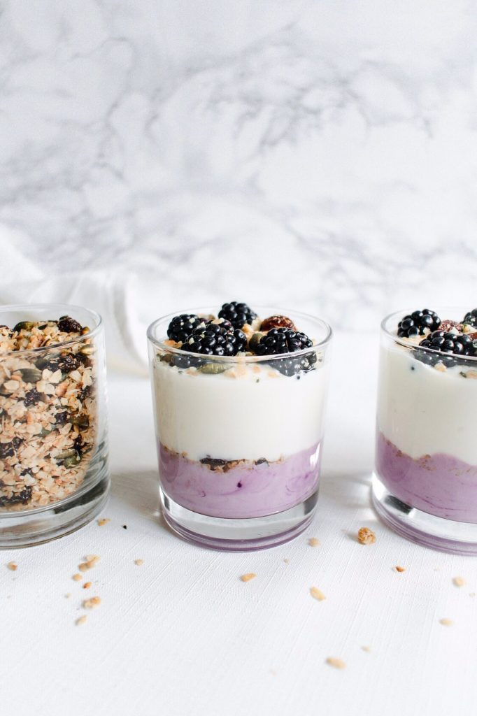side photograph of fruit and yoghurt parfaits