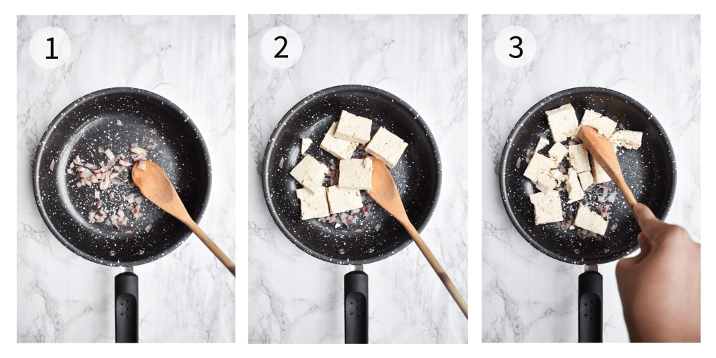 process photographs showing how to make tofu scramble