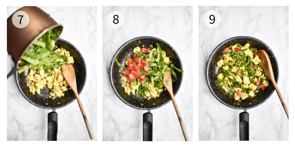 process photographs showing the final steps to make tofu scramble