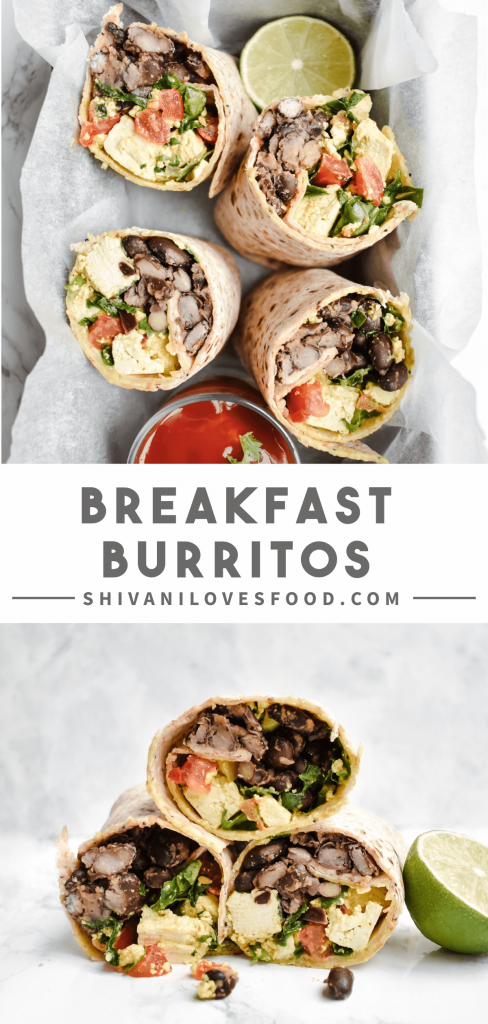 You'll love this vegan breakfast burritos recipe! This easy vegan breakfast is packed with lots of tasty plant-based protein such as tofu and black beans. #vegan #healthybreakfast