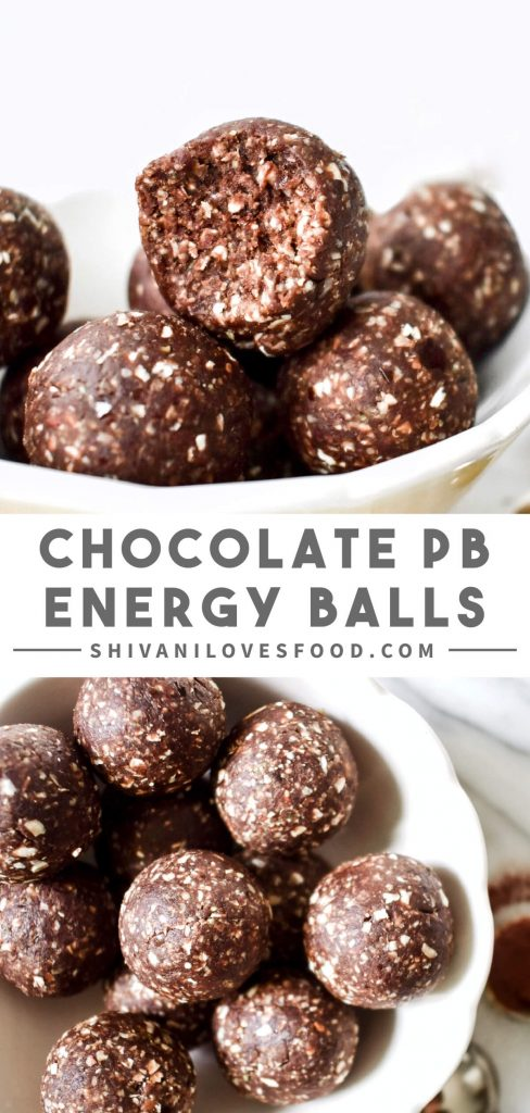 No-bake chocolate peanut butter energy balls made with just 5 wholesome ingredients – the perfect pick me up! Vegan and gluten-free.