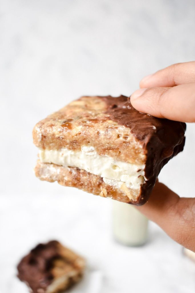 side close up photograph of an ice cream sandwich