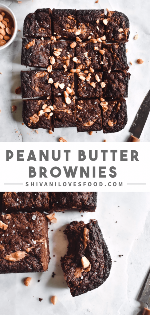These fudgy vegan peanut butter brownies are the perfect decadent dessert to satisfy any sweet tooth. Best of all, they're made with just 9 ingredients! #veganbrownies #peanutbutterbrownies