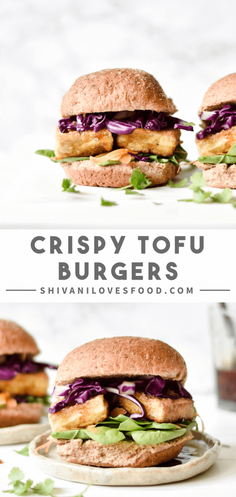 hese crispy tofu burgers are a lighter take on the classic meal: crunchy fried tofu with rainbow vegetables and a sweet chili sauce! Vegan and gluten-free.