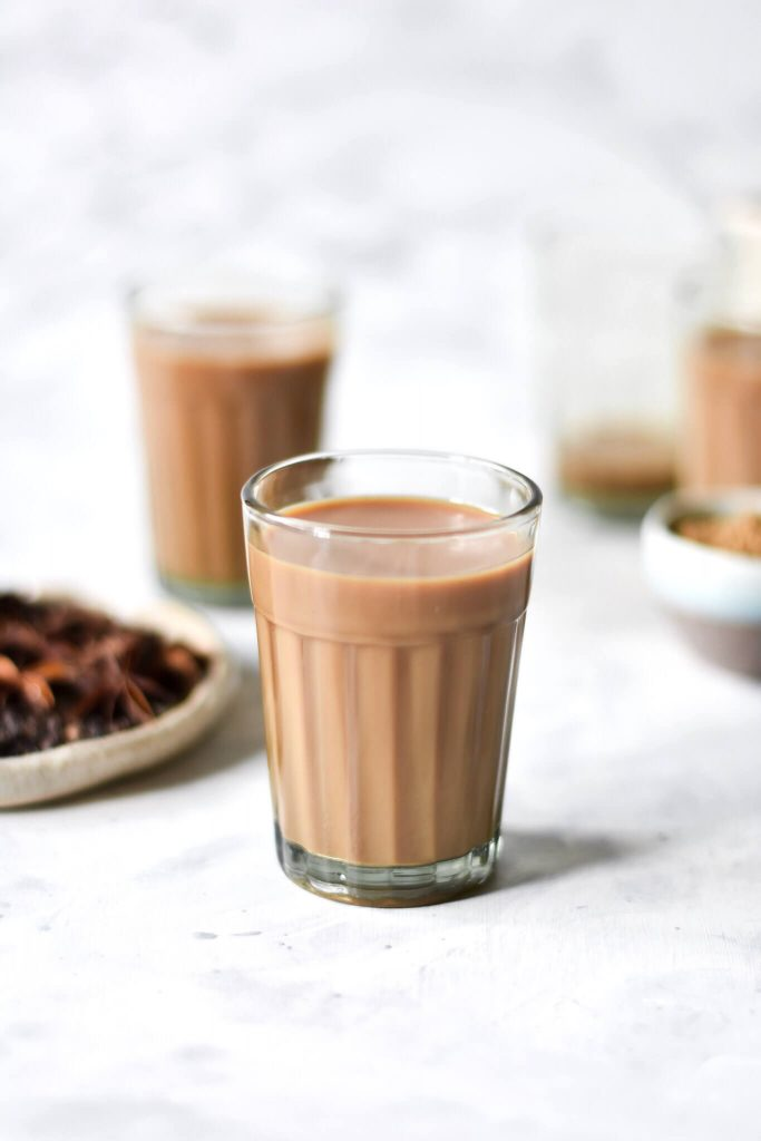 two glasses filled with masala chai