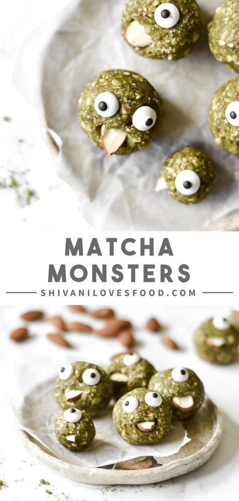 These spooky matcha energy balls are the perfect healthy Halloween treat. They are decorated to look like monsters, and are also vegan and gluten-free!