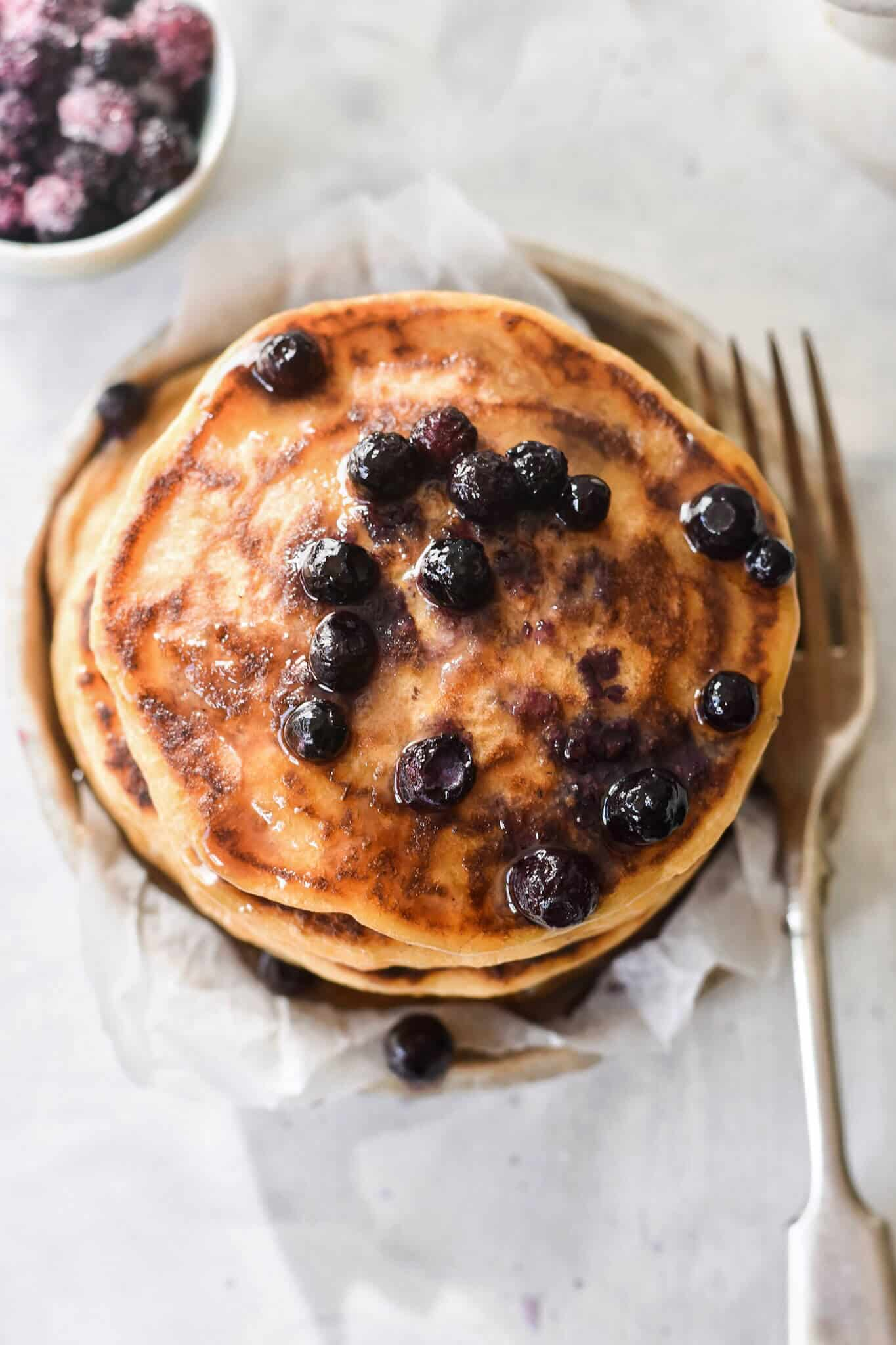 sweet potato pancakes topped with blueberries