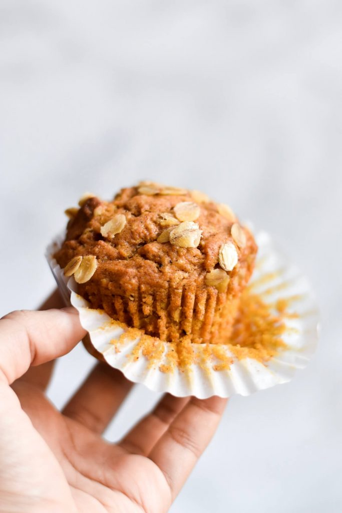 close up photograph of a vegan pumpkin muffin