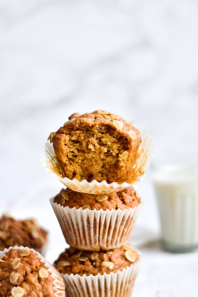 a stack of pumpkin spice muffins