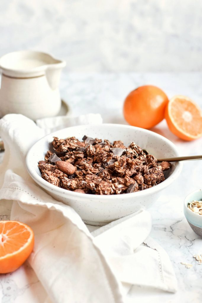 chocolate orange granola in a bowl