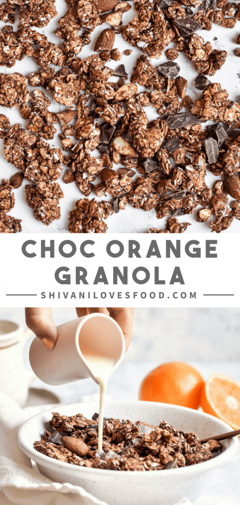 This chocolate orange granola recipe is naturally sweetened and super easy to make. The perfect festive breakfast that is both vegan and gluten-free!