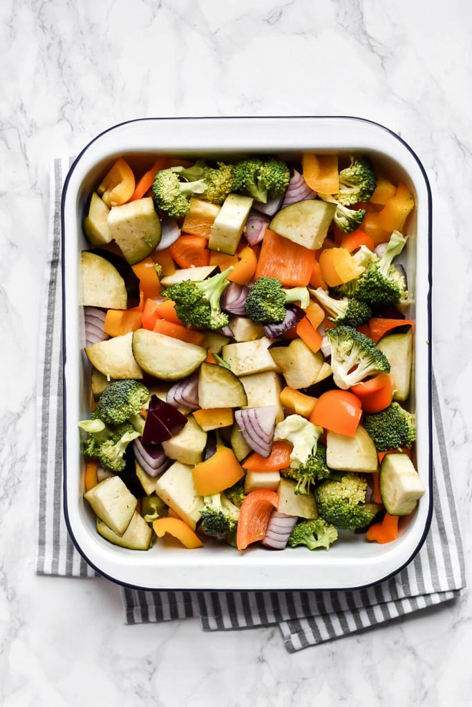 chopped vegetables in a roasting dish
