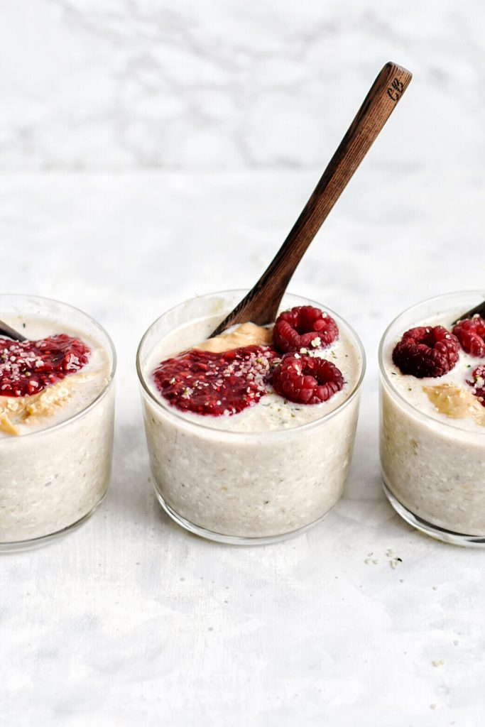 3 jars of overnight oats in a row