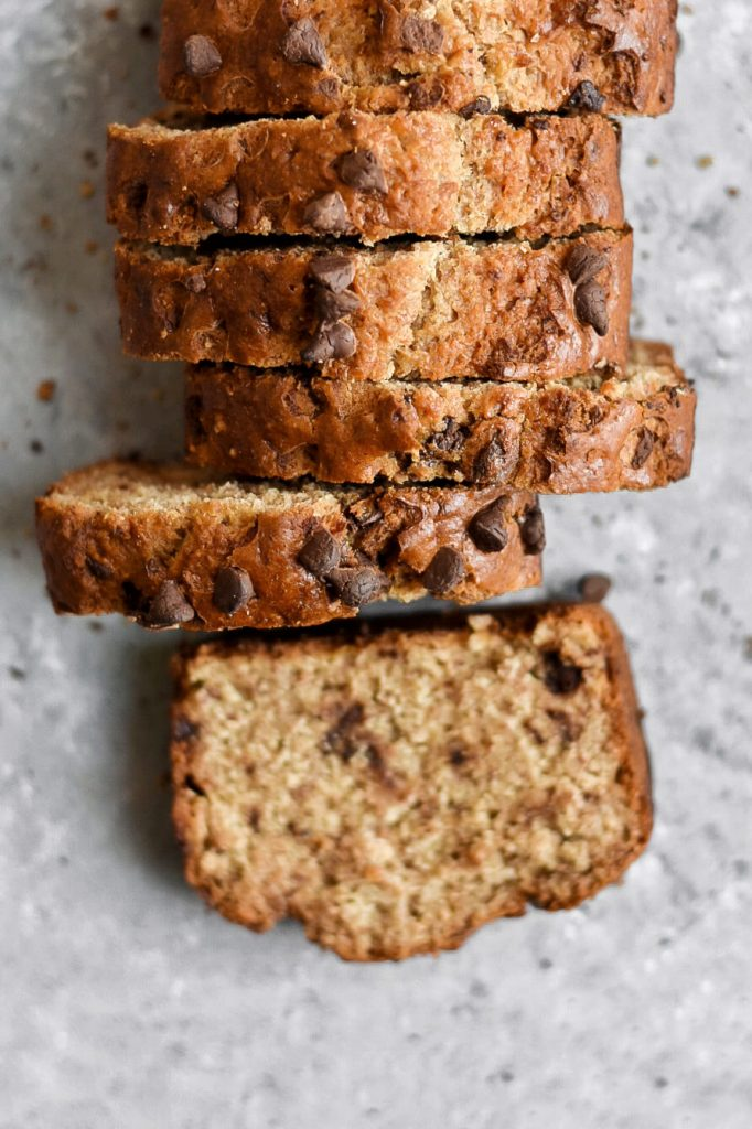close up of chocolate chip banana bread