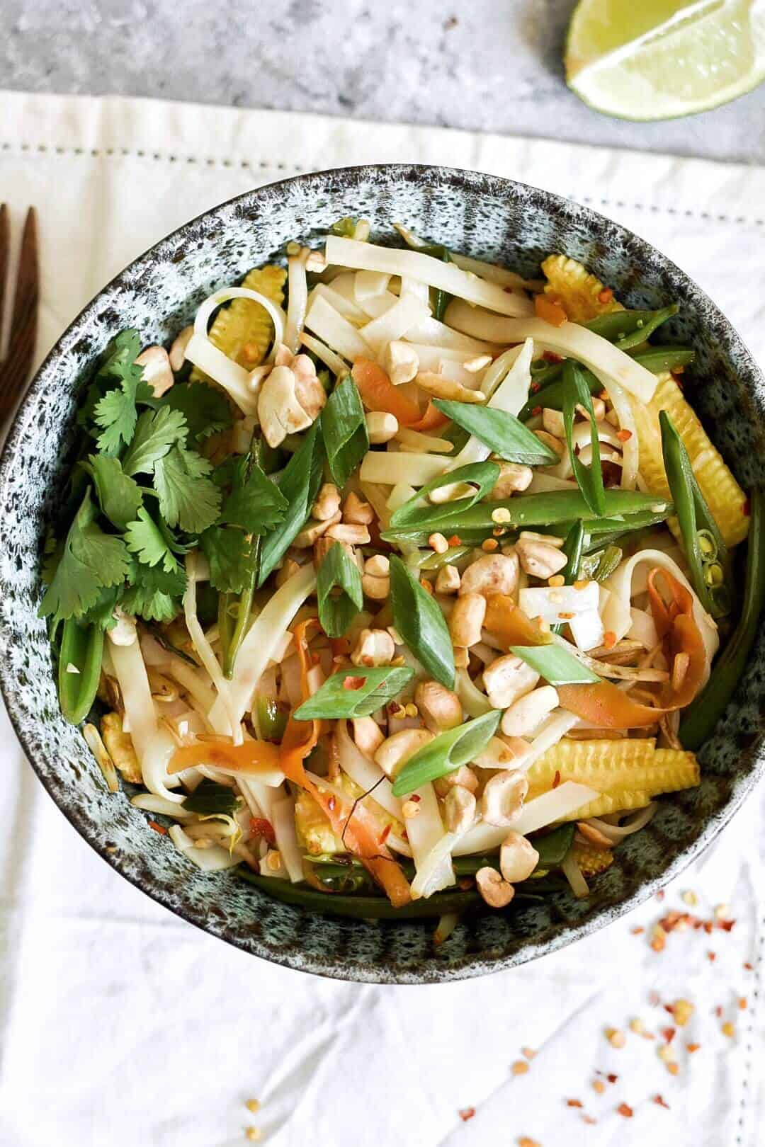 a close up of vegetable pad thai