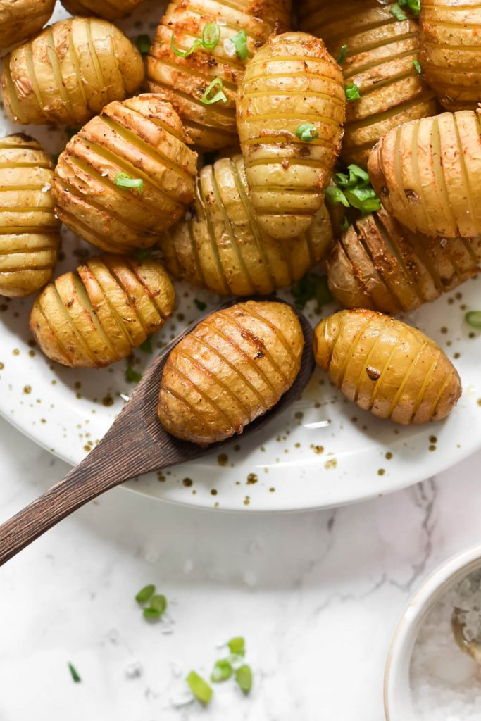 close up of some hassleback potatoes