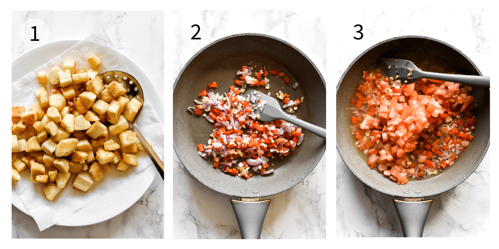 steps 1 to 3 of how to make chilli mogo