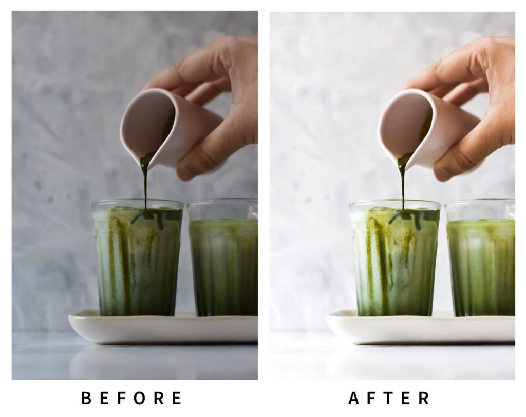 before and after of editing a photo of a matcha latte