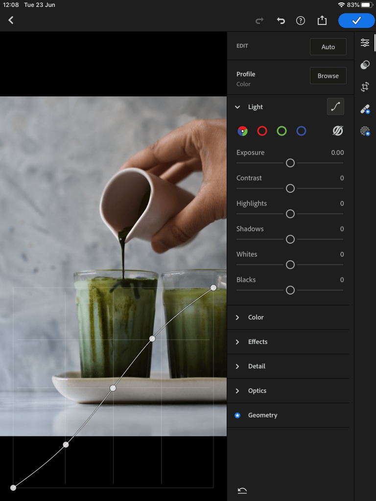 screenshot showing editing the tone curve in lightroom