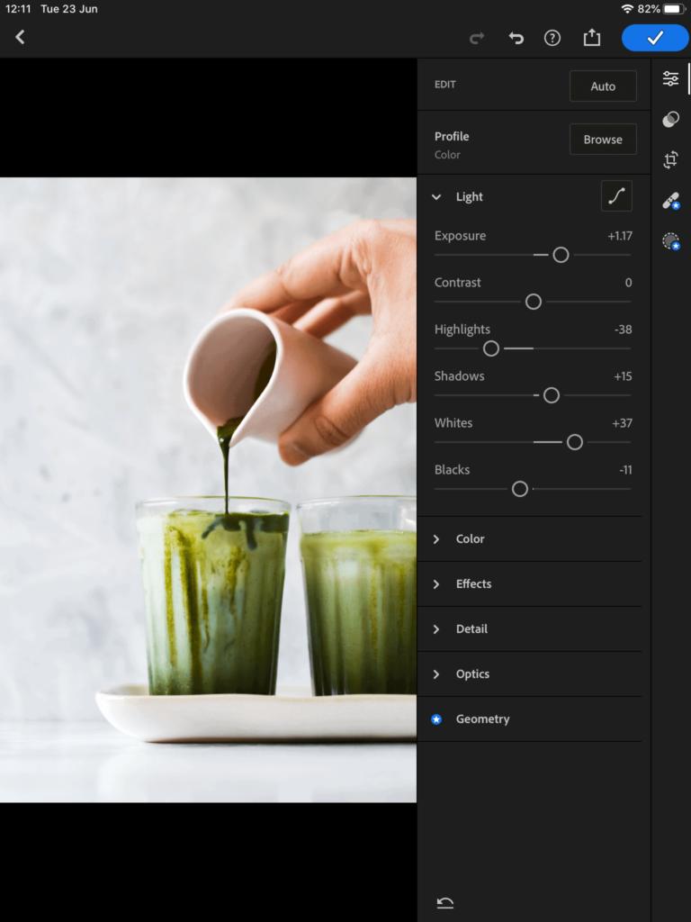 screenshot showing editing the exposure in lightroom