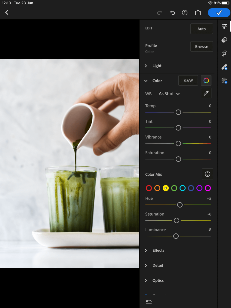 screenshot showing editing the HSL panel in lightroom