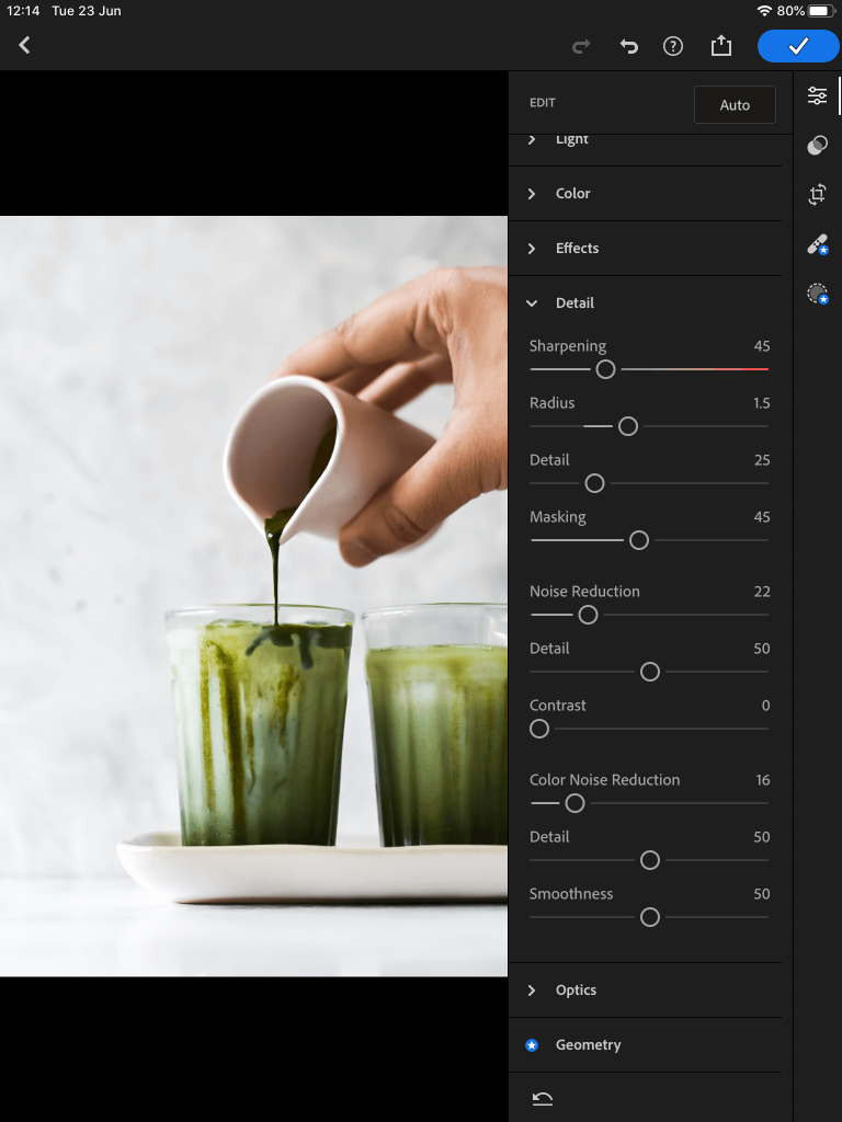screenshot showing editing the details in lightroom