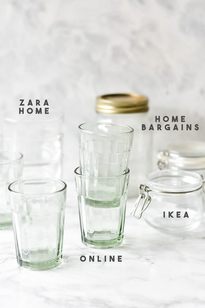 a photograph of glassware props for food photography