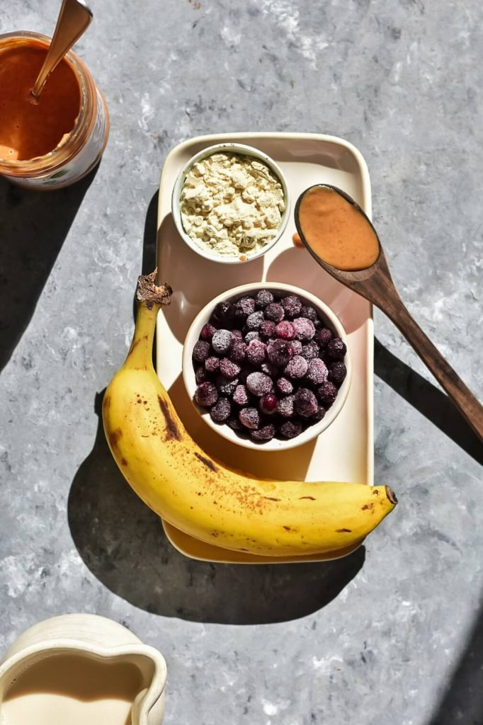 a photograph of ingredients for a smoothie