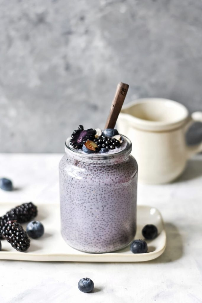 a jar of berry chia pudding