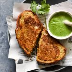 masala grilled cheese sandwich with coriander chutney