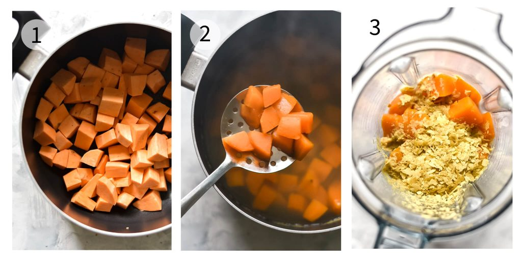how to make sweet potato mac and cheese steps 1-3