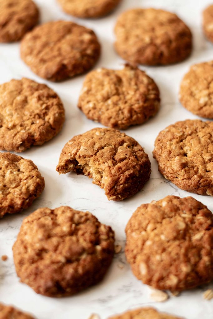 a side view of vegan oatmeal cookies