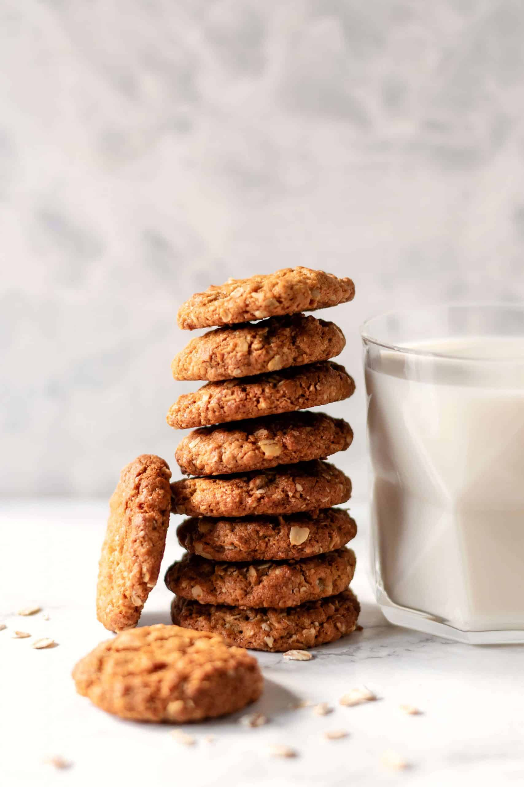 close up of a stack of oatmeal cookies