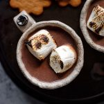 a close up photograph of a mug of hot chocolate topped with toasted marshmallows